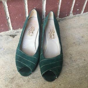 Vintage Velvet Green and Gold Ferragamo Heels